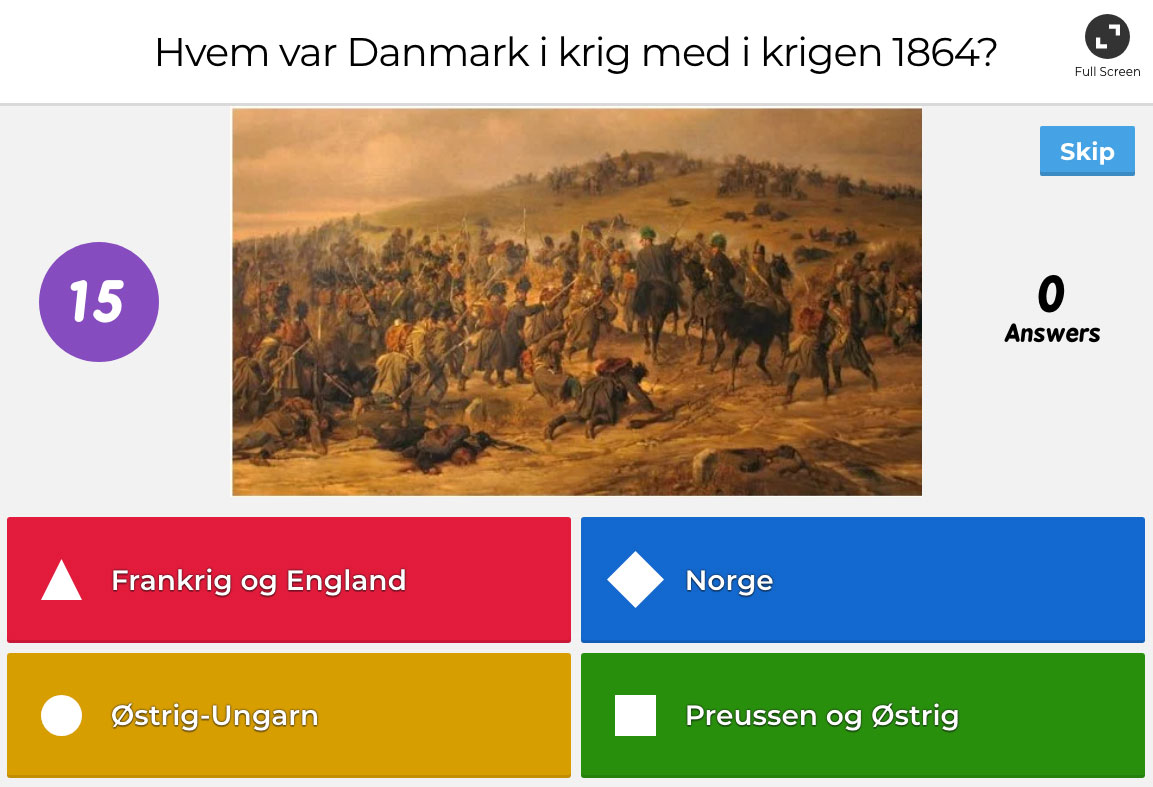 Screenshot fra Kahoot quiz