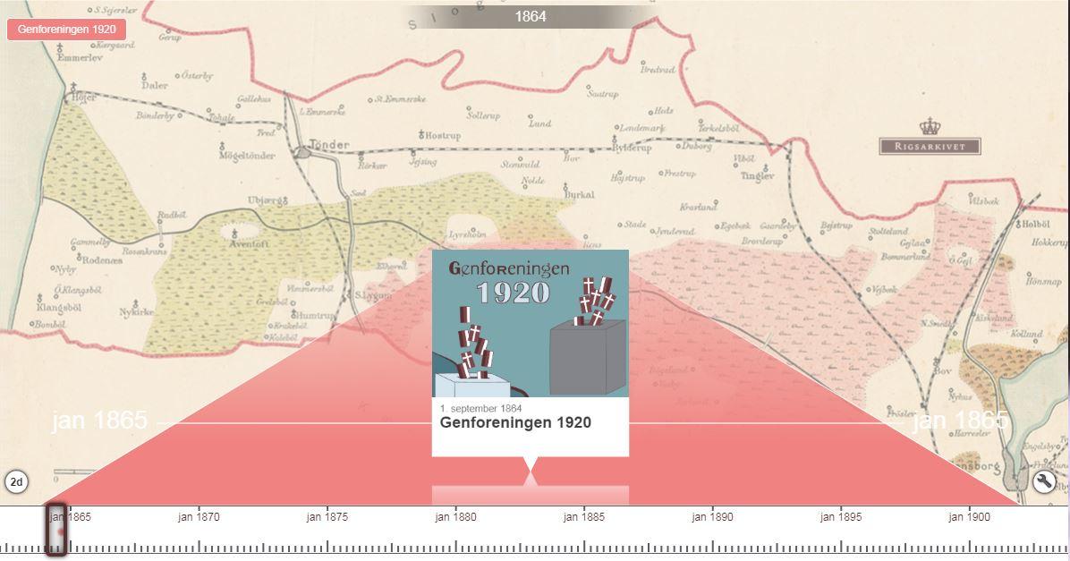 Screenshot af tidslinjen - Genforeningen 1920