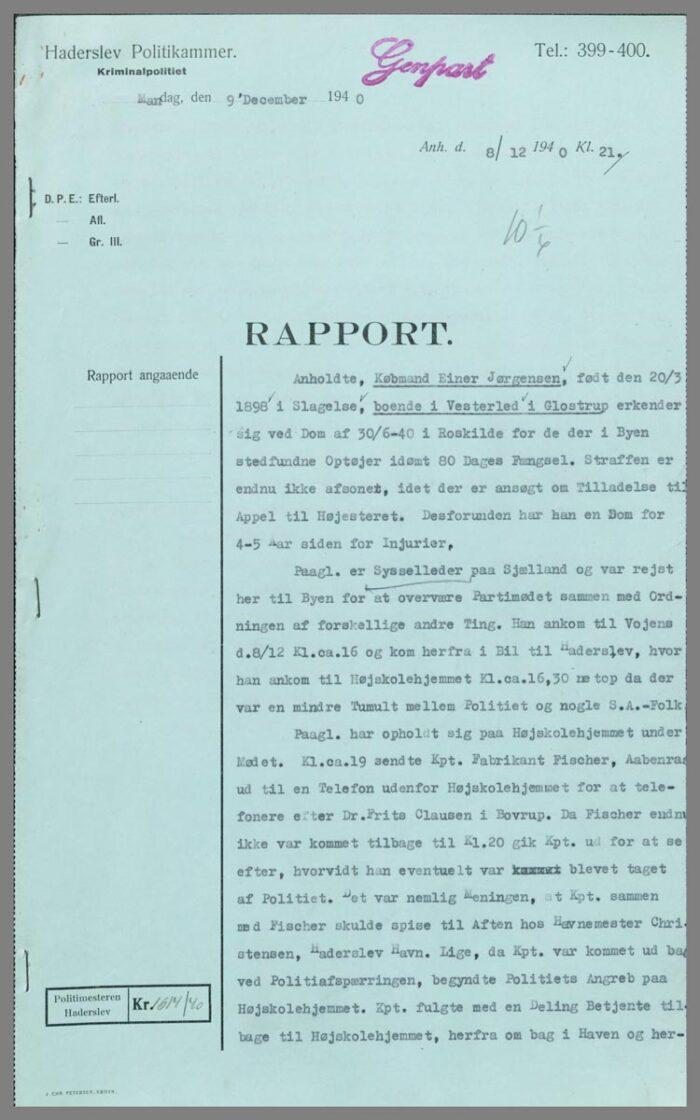 Politirtapport fra afføringen af Ejner Jørgensen