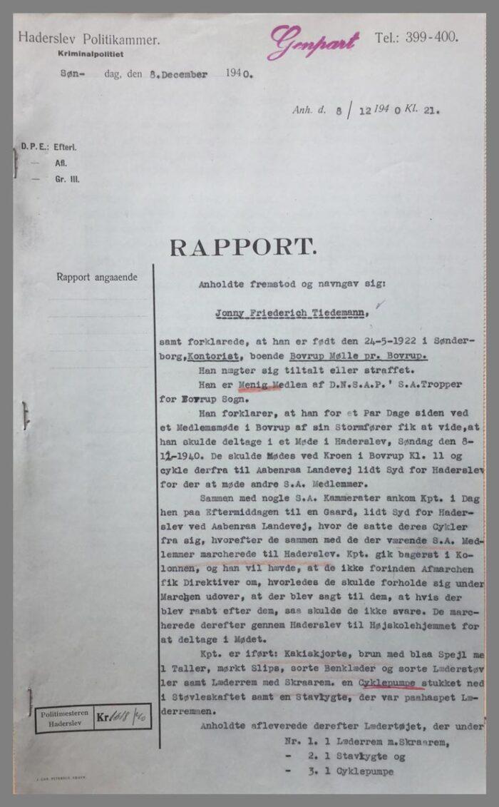 Haderslev Politis rapport med afhøringen af Jonny Friederich Tiedemann