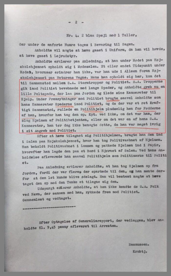 uddrag af Haderslev Politis rapport med afhøringen af Jonny Friederich Tiedemann