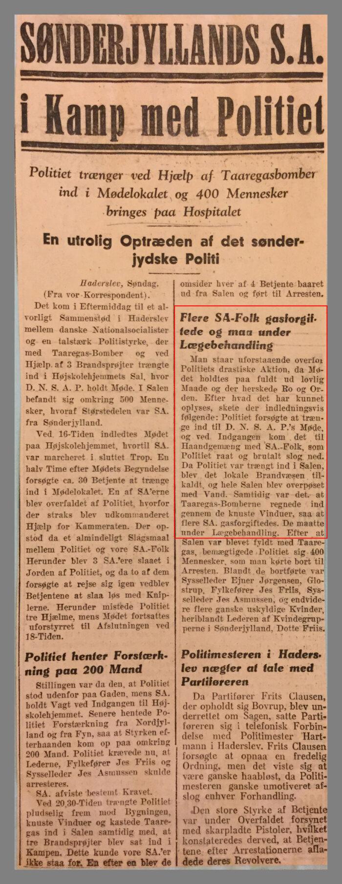 """Avisartikel fra avisen Fædrelandet med titel """"Sønderjyllands S.A. i Kamp med Politiet"""""""