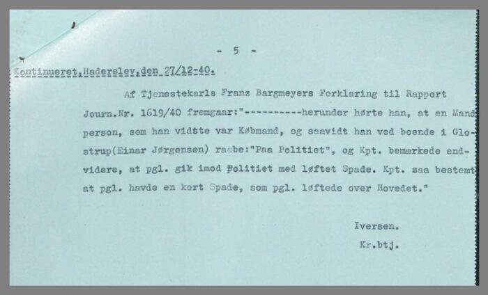 Uddtalelse af Frantz Bargmeyer fra politirapport