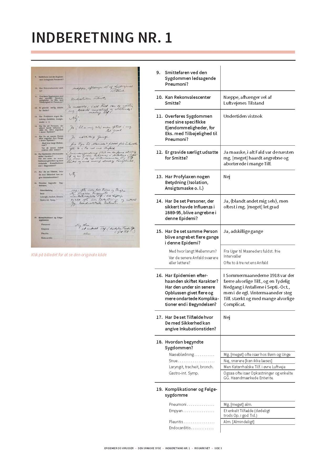 Gengivelse af original indberetning om den spanske syge side 2 og transskription heraf.