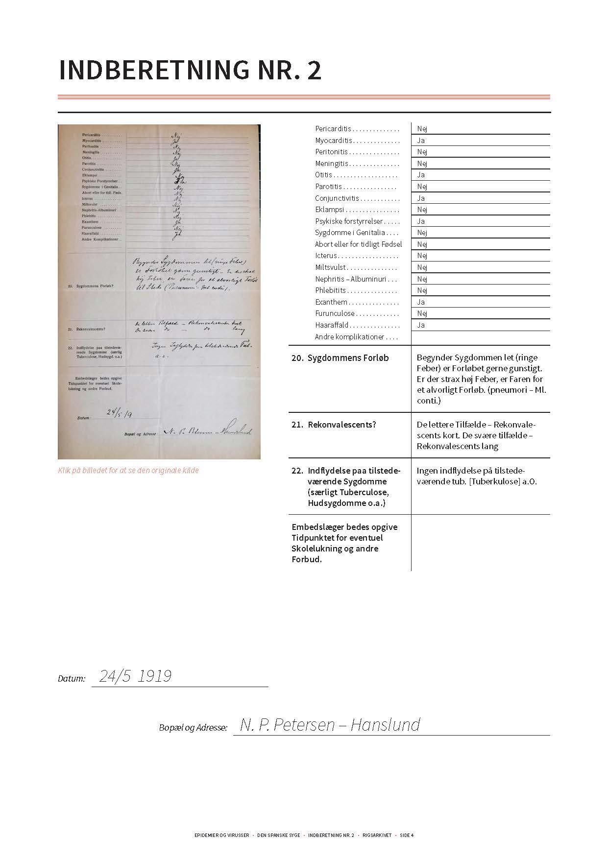 Gengivelse af original indberetning om den spanske syge side 3 og transskription heraf.