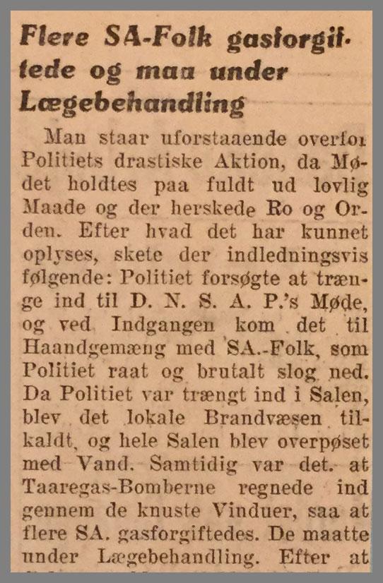 """Uddrag avisartikel fra avisen Fædrelandet med titel """"Sønderjyllands S.A. i Kamp med Politiet"""""""