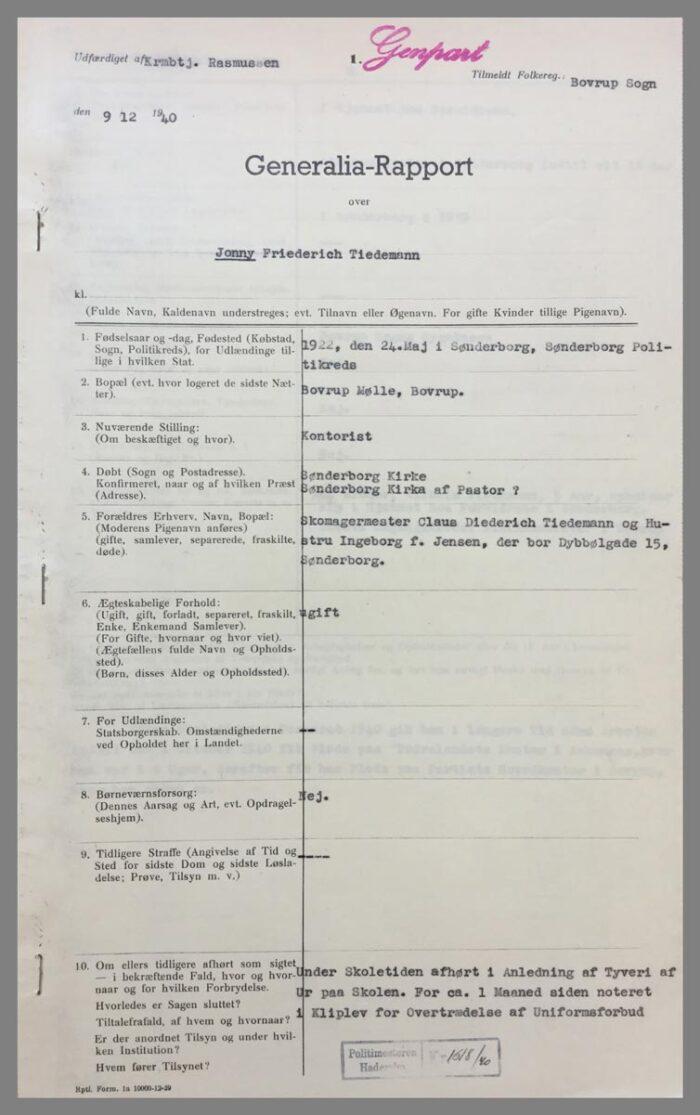 Generaliarapporten opsummerer Jonny Tiedemanns familiemæssige baggrund side 1