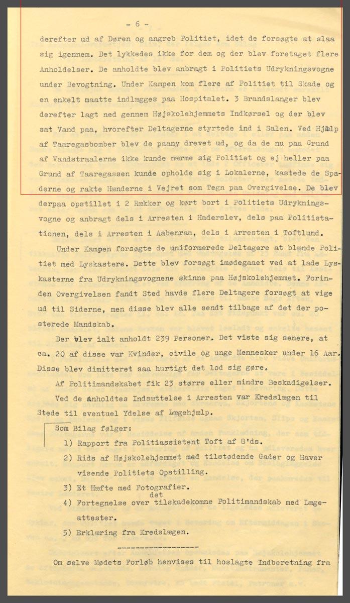 Uddrag af politimester Hartmanns rapport om begivenhederne den 8. december side 5