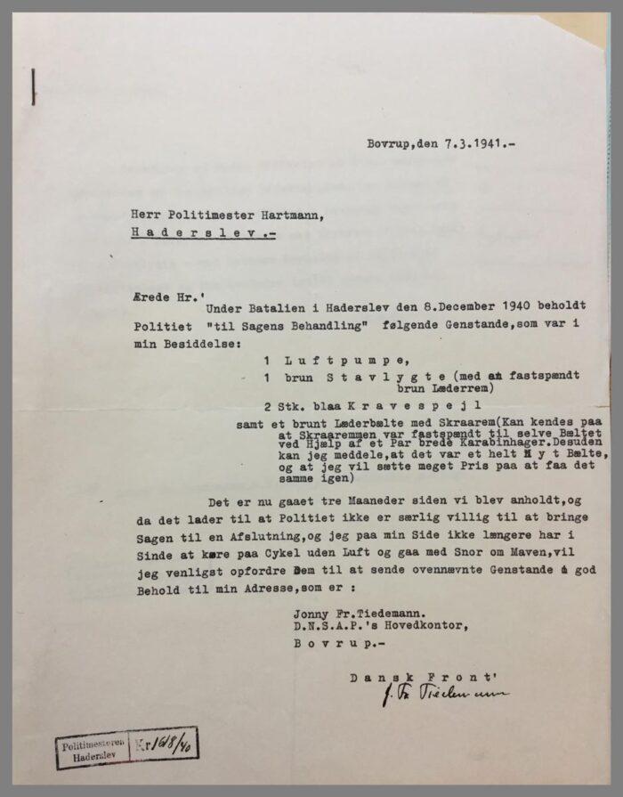 Brev af Jonny Tiedemann til politimester Hartmann