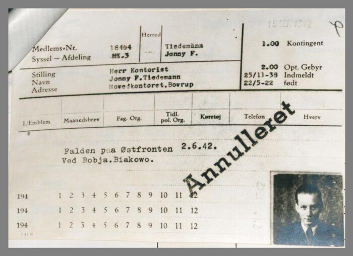 Medlemskort til det danske nazistparti for medlem nr. 18.464, Tiedemann, Jonny F.