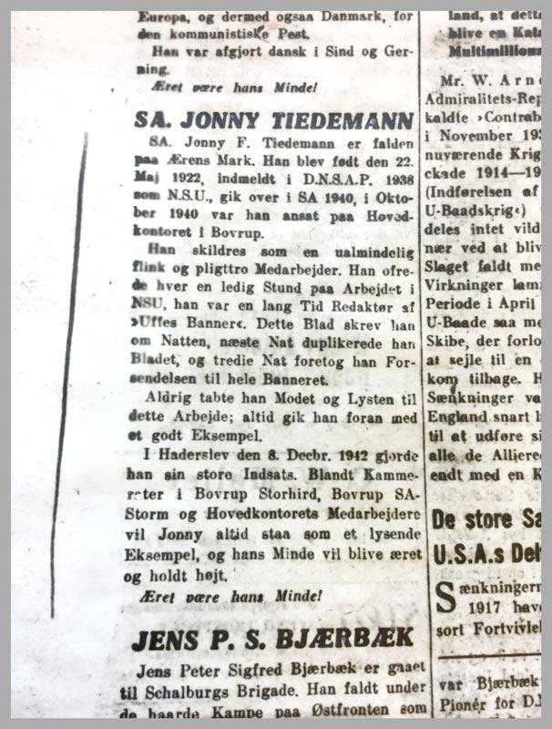 Nekrolog over Jonny Tiedemann fra avisen Fædrelandet