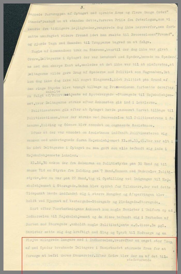Uddrag af politiassistent Tofts rapport side 3