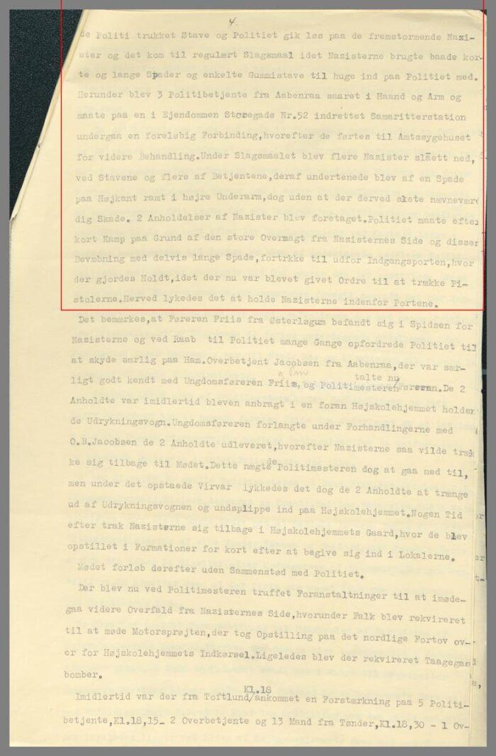 Uddrag af politiassistent Tofts rapport side 4
