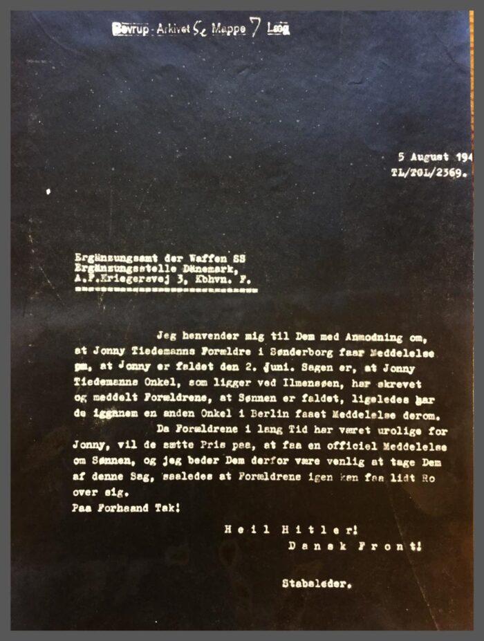 "Brev fra stabsleder til ""Ergänzungsamt der Waffen SS"" 5. august 194(2)"