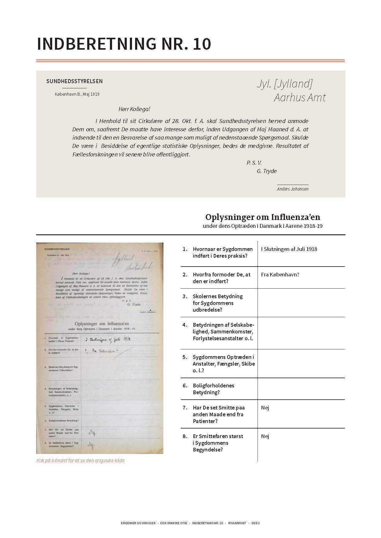 Gengivelse af original indberetning om den spanske syge side 1 og transskription heraf.