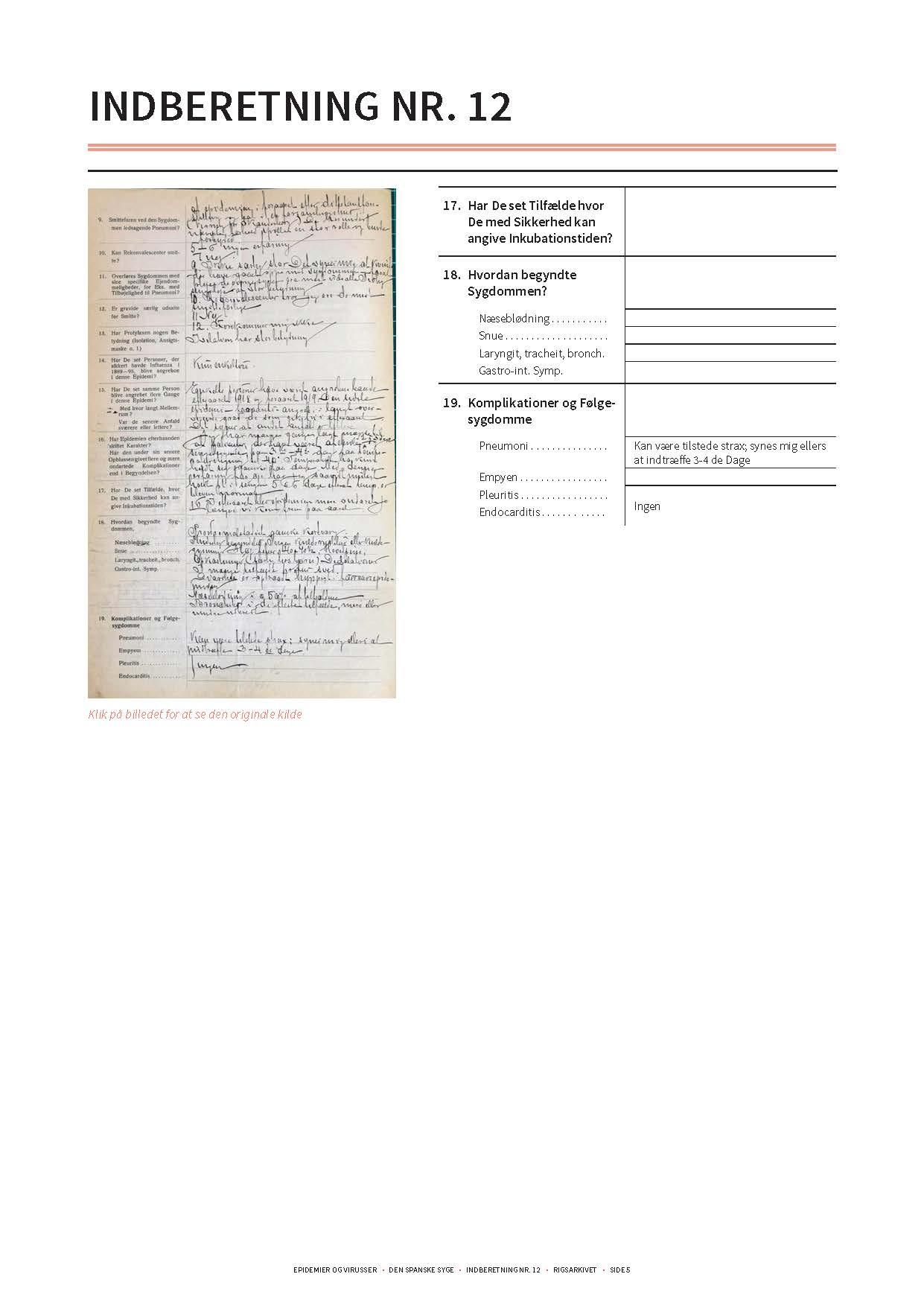 Gengivelse af original indberetning om den spanske syge side 4 og transskription heraf.